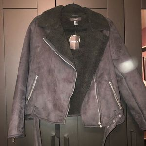 Forever 21 black coat with full sherpa lining